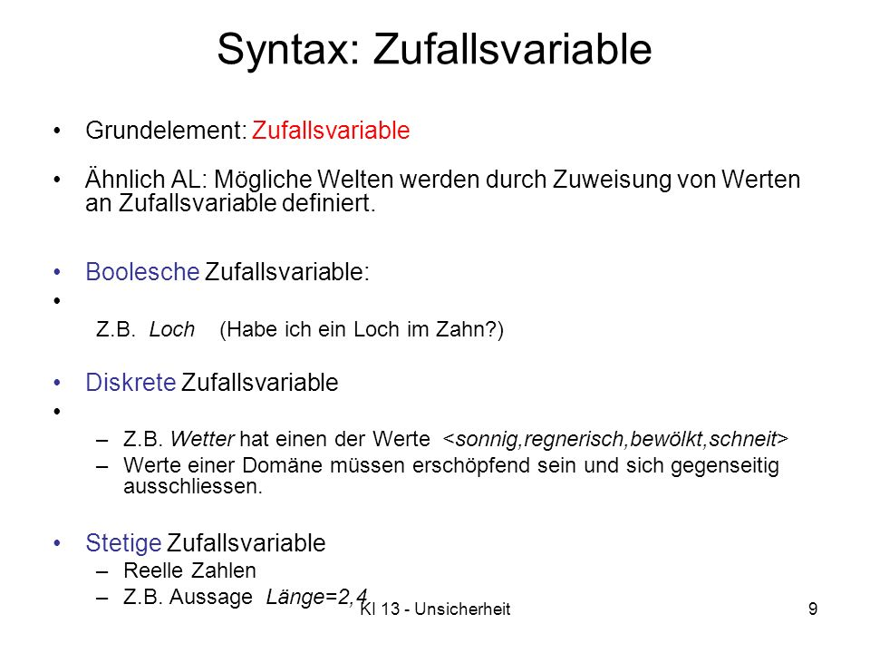 Syntax: Zufallsvariable