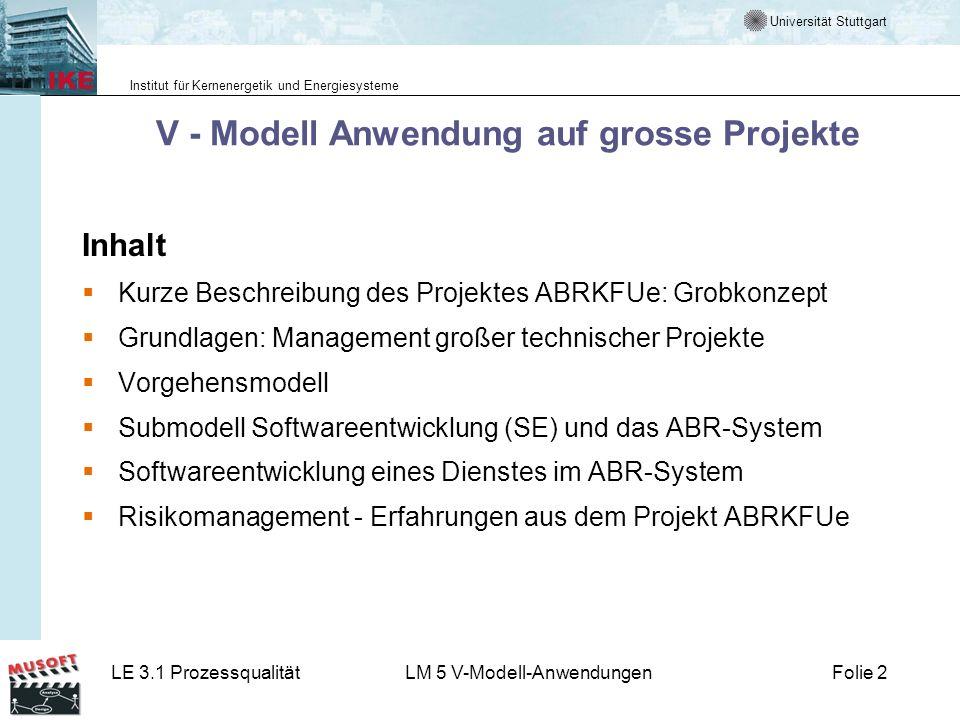 V - Modell Anwendung auf grosse Projekte