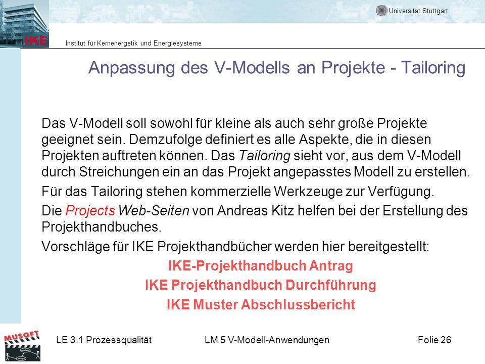 Anpassung des V-Modells an Projekte - Tailoring
