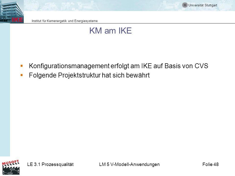 KM am IKE Konfigurationsmanagement erfolgt am IKE auf Basis von CVS