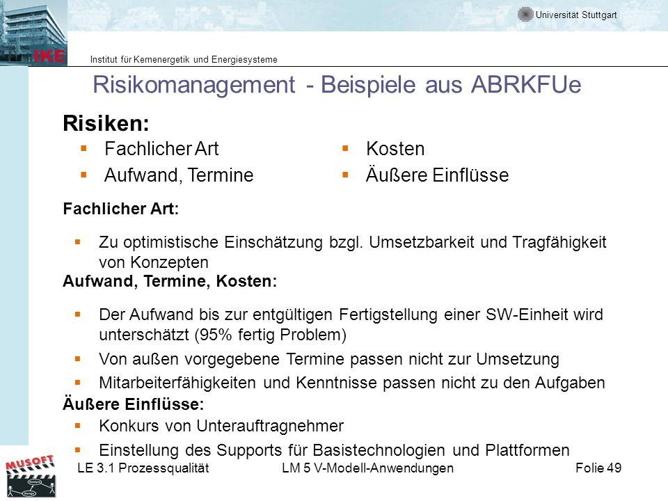 Risikomanagement - Beispiele aus ABRKFUe