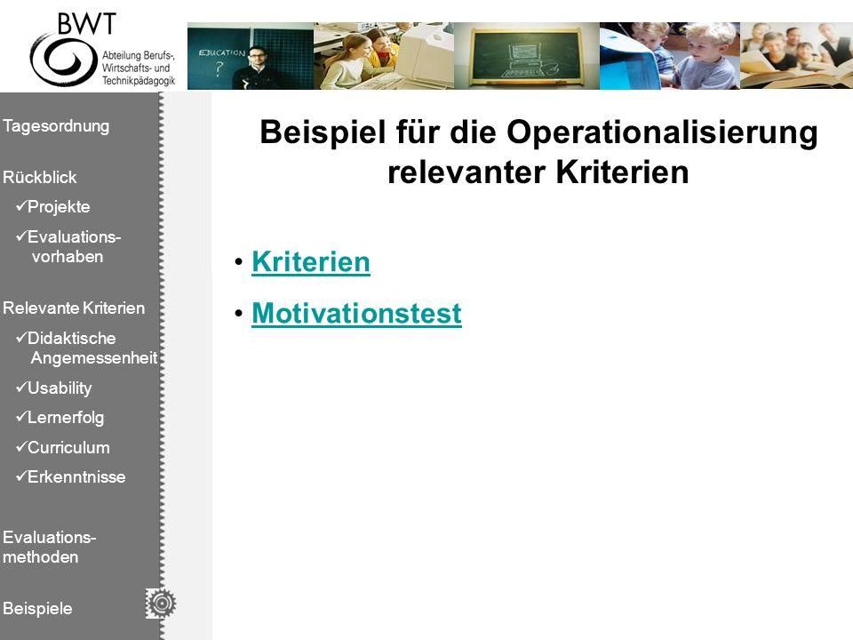 Beispiel für die Operationalisierung relevanter Kriterien
