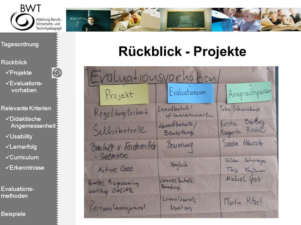 Rückblick - Projekte Tagesordnung Rückblick Projekte