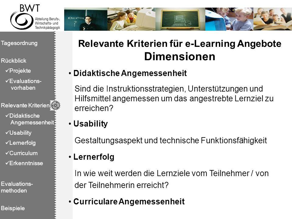 Relevante Kriterien für e-Learning Angebote Dimensionen