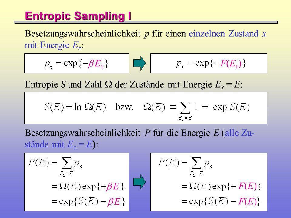 Entropic Sampling I Besetzungswahrscheinlichkeit p für einen einzelnen Zustand x mit Energie Ex: b Ex.