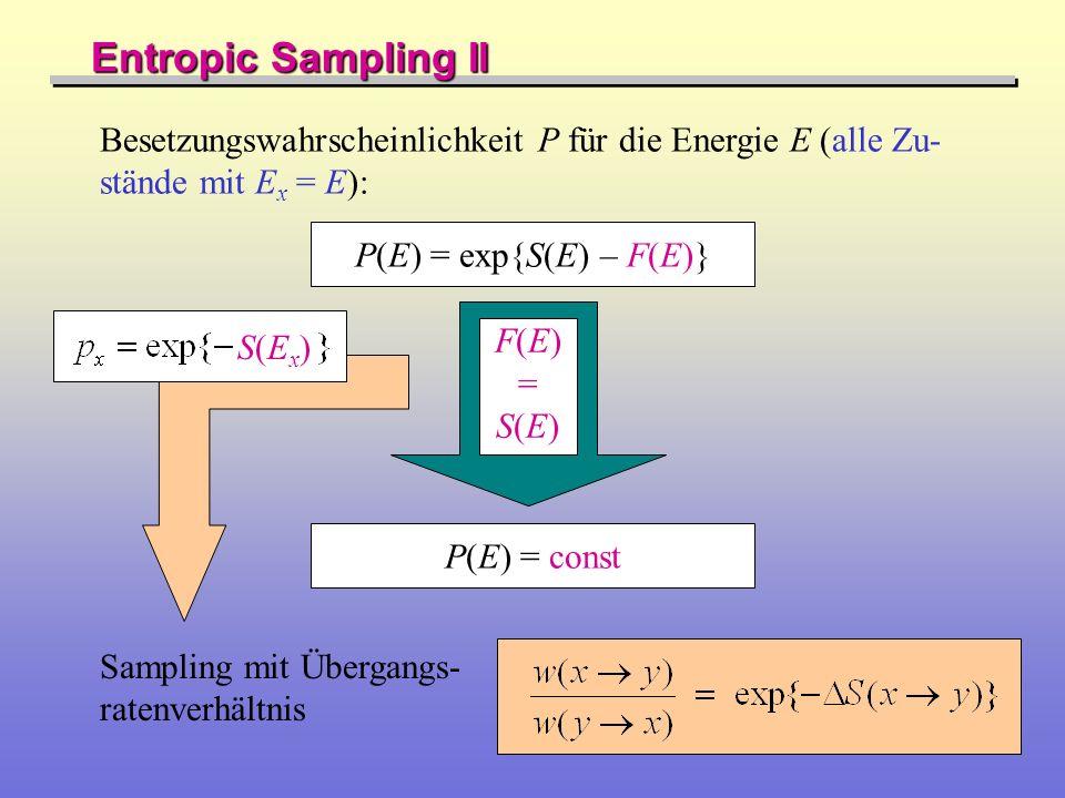 Entropic Sampling II Besetzungswahrscheinlichkeit P für die Energie E (alle Zu-stände mit Ex = E): P(E) = exp{S(E) – F(E)}