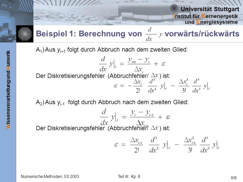 Beispiel 1: Berechnung von vorwärts/rückwärts
