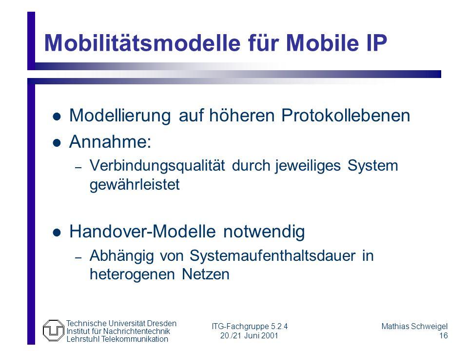 Mobilitätsmodelle für Mobile IP