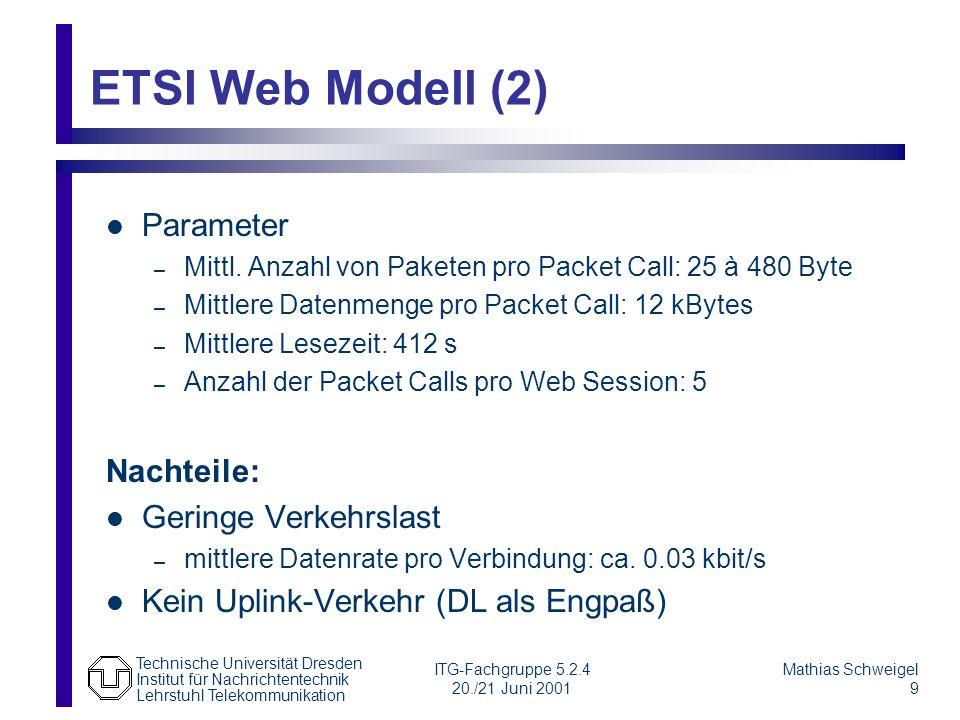 ETSI Web Modell (2) Parameter Nachteile: Geringe Verkehrslast