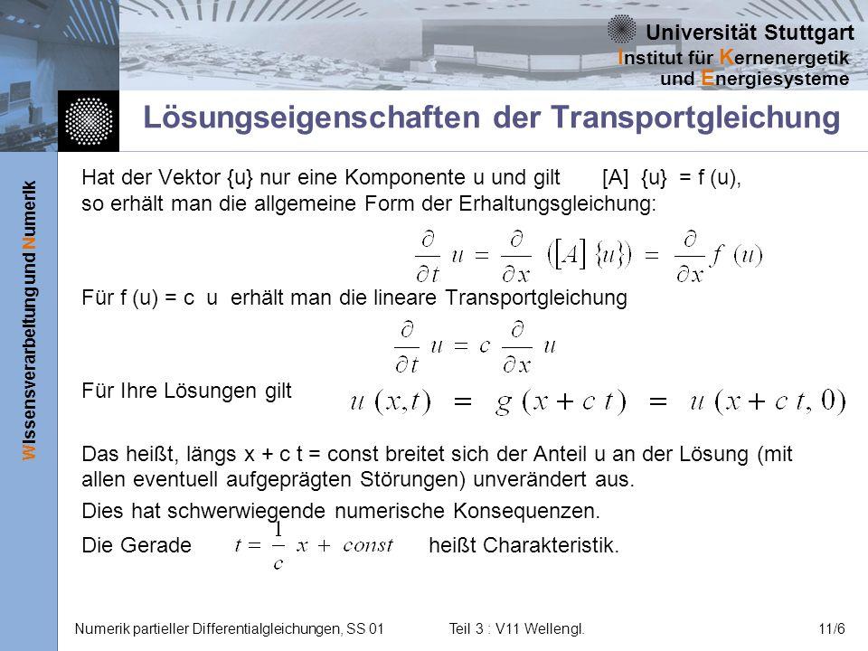 Lösungseigenschaften der Transportgleichung