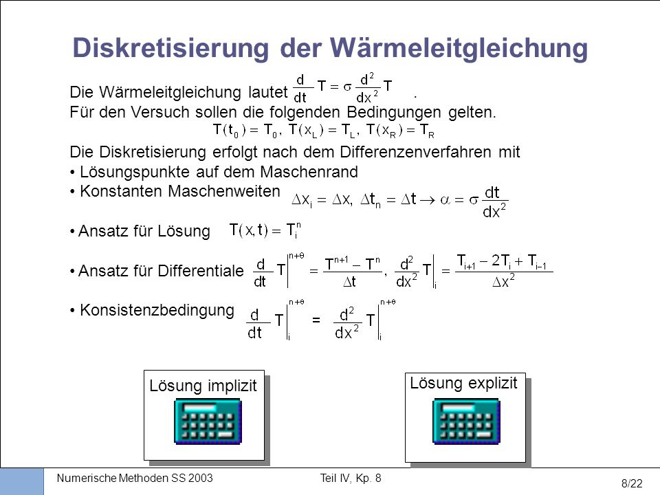 Diskretisierung der Wärmeleitgleichung