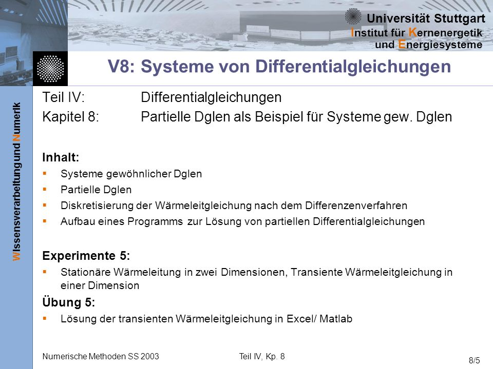 V8: Systeme von Differentialgleichungen