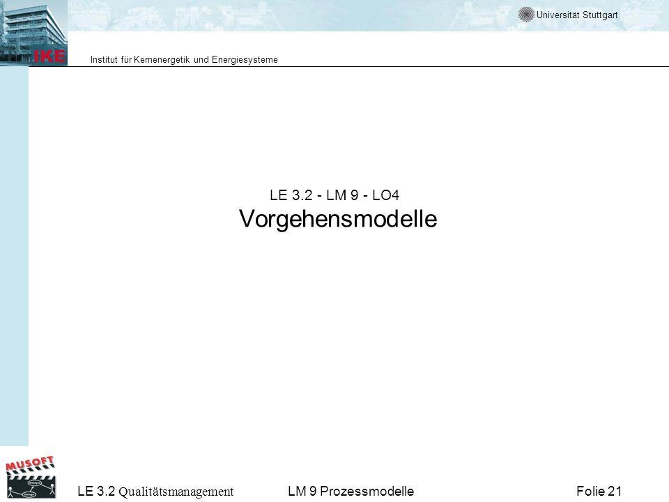 LE 3.2 - LM 9 - LO4 Vorgehensmodelle