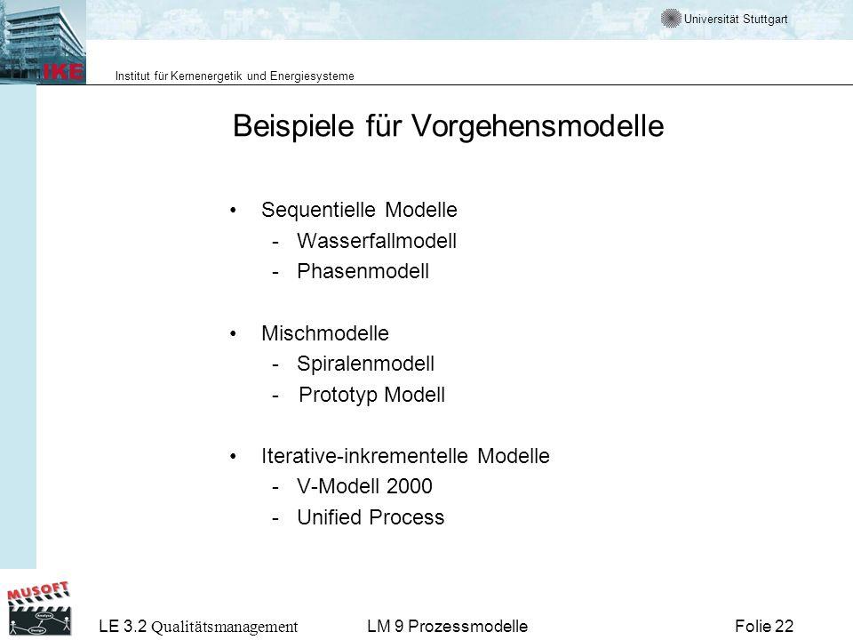 Beispiele für Vorgehensmodelle