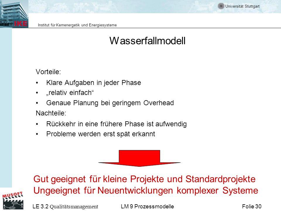 Wasserfallmodell Gut geeignet für kleine Projekte und Standardprojekte