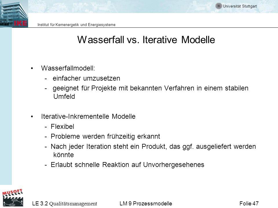 Wasserfall vs. Iterative Modelle