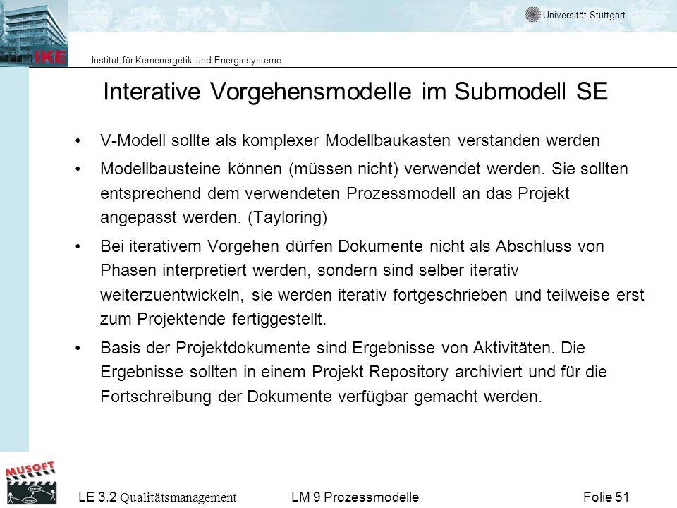 Interative Vorgehensmodelle im Submodell SE