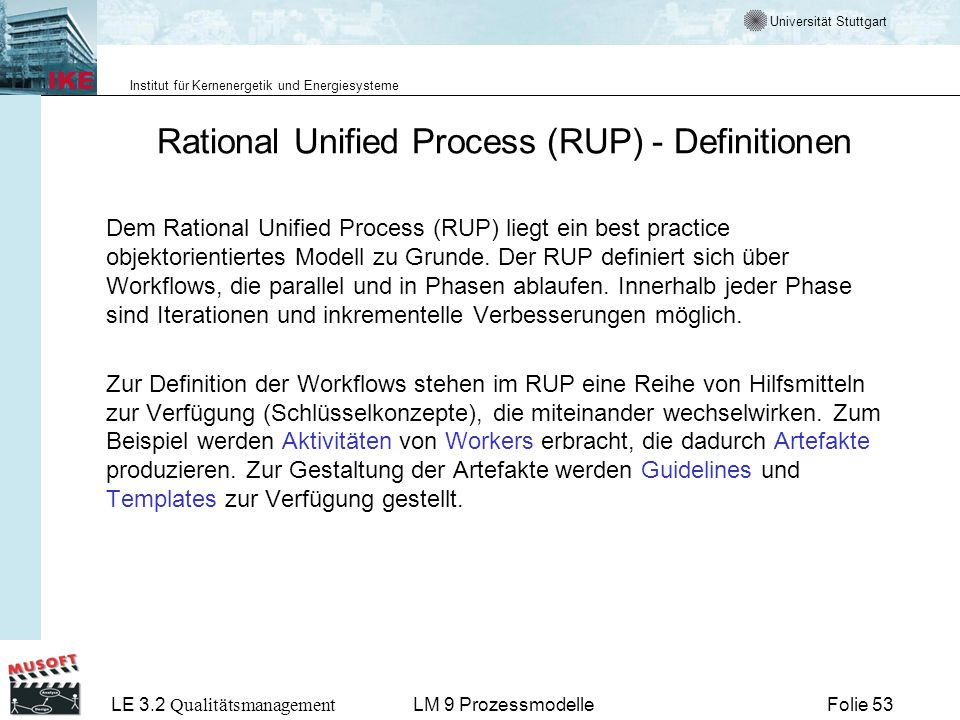 Rational Unified Process (RUP) - Definitionen