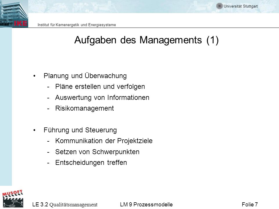 Aufgaben des Managements (1)