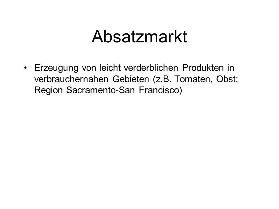 Absatzmarkt Erzeugung von leicht verderblichen Produkten in verbrauchernahen Gebieten (z.B.