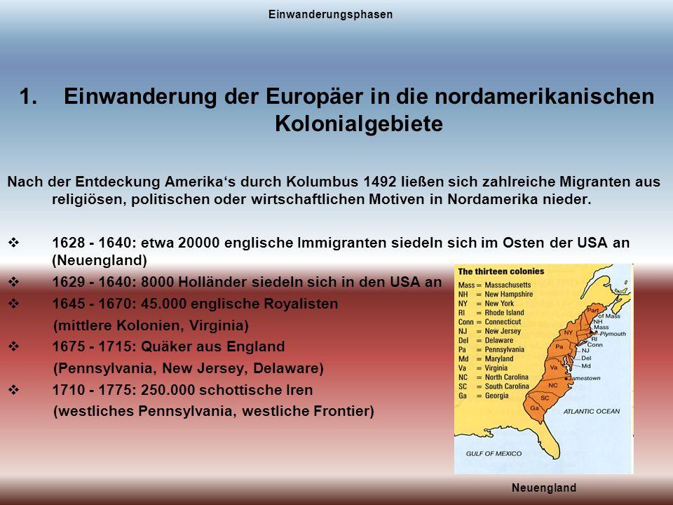 Einwanderung der Europäer in die nordamerikanischen Kolonialgebiete