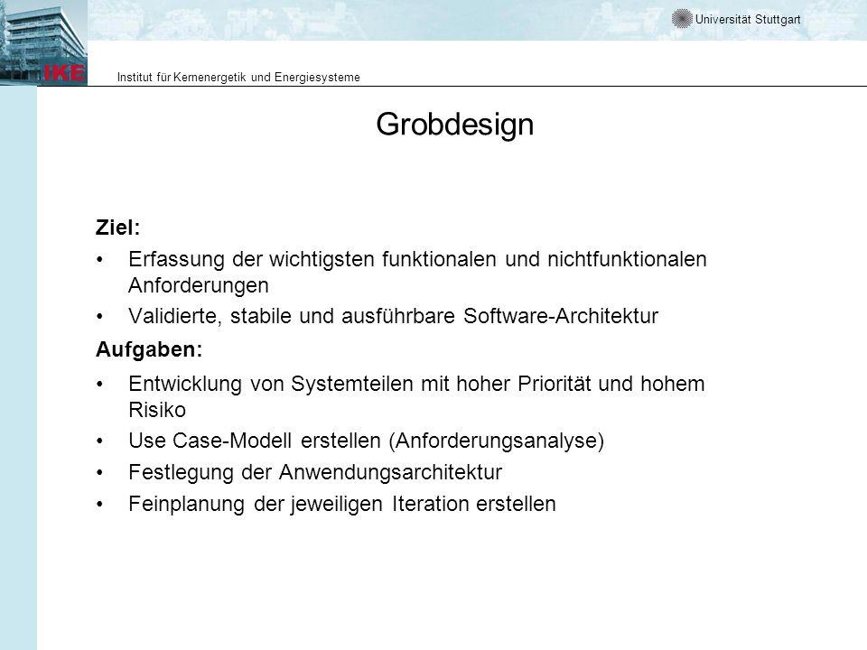 Grobdesign Ziel: Erfassung der wichtigsten funktionalen und nichtfunktionalen Anforderungen.