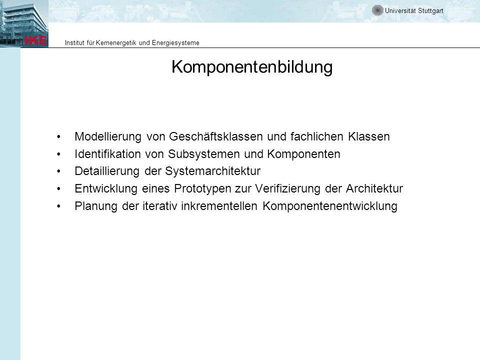 Komponentenbildung Modellierung von Geschäftsklassen und fachlichen Klassen. Identifikation von Subsystemen und Komponenten.