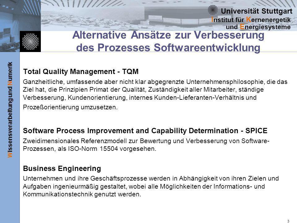 Alternative Ansätze zur Verbesserung des Prozesses Softwareentwicklung