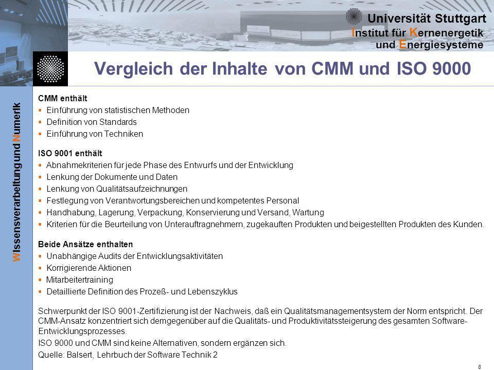 Vergleich der Inhalte von CMM und ISO 9000