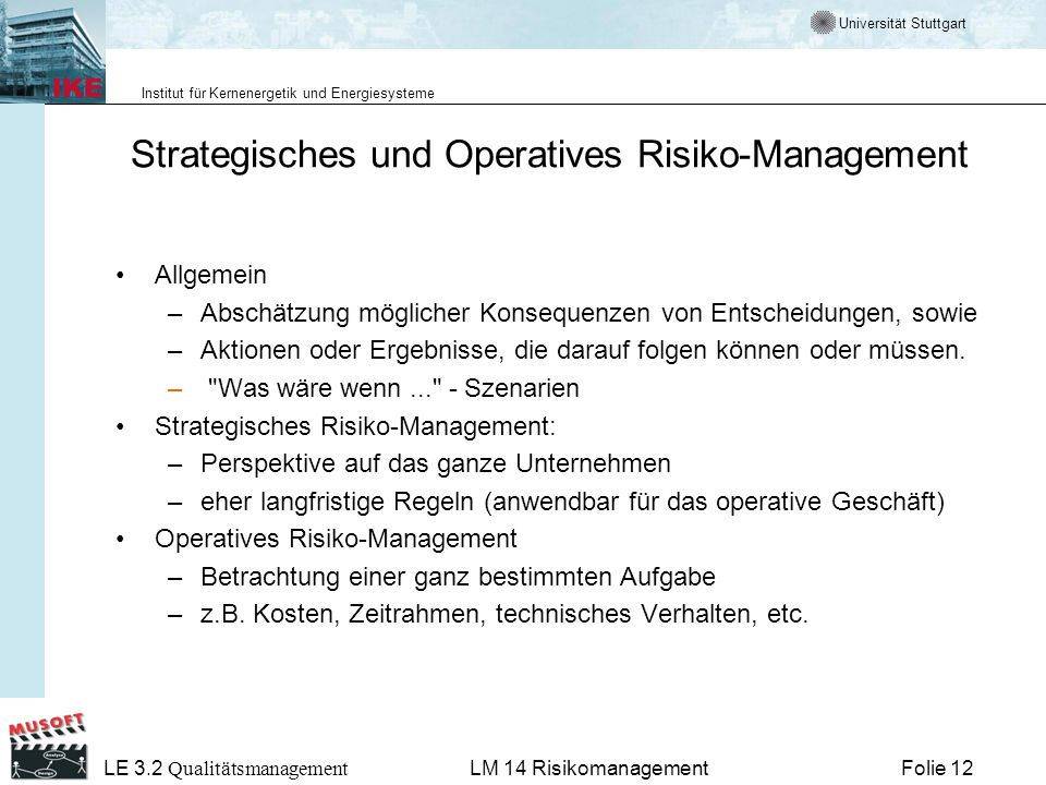 Strategisches und Operatives Risiko-Management