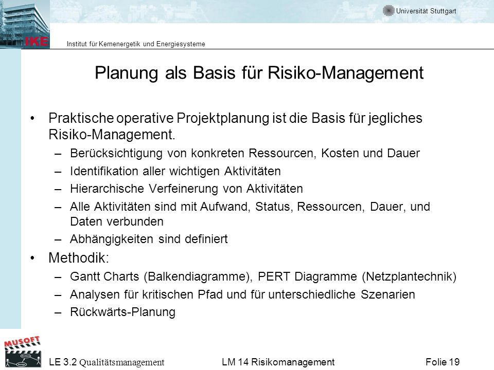 Planung als Basis für Risiko-Management