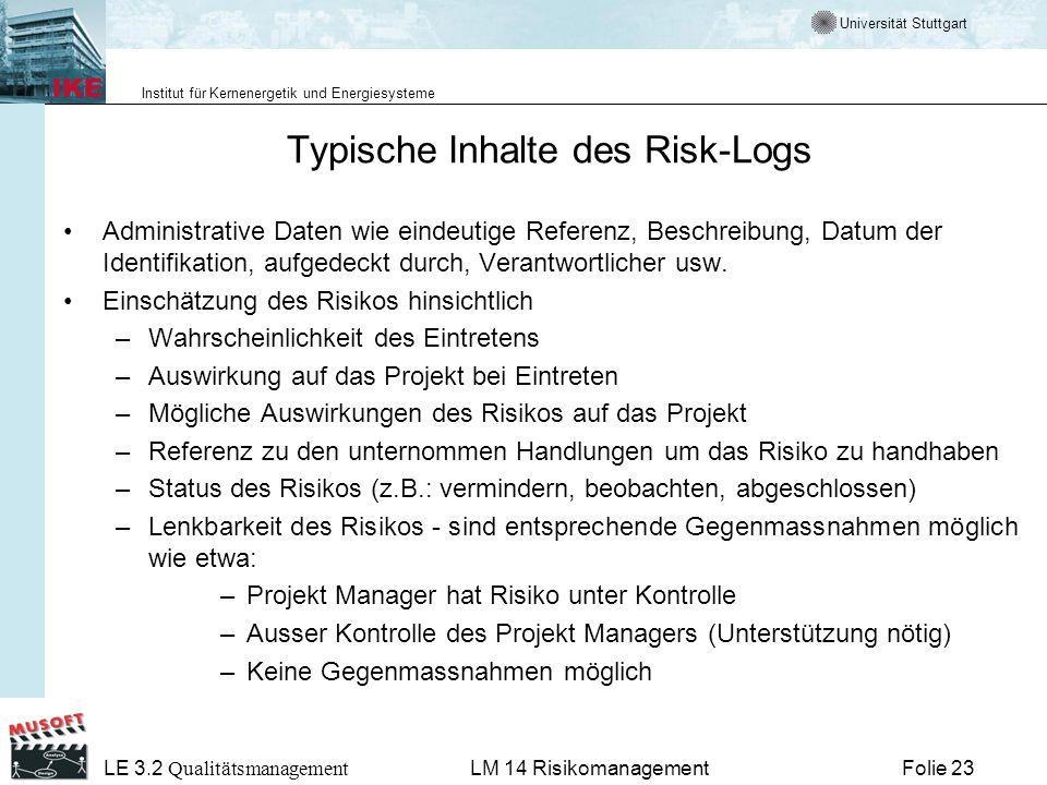 Typische Inhalte des Risk-Logs