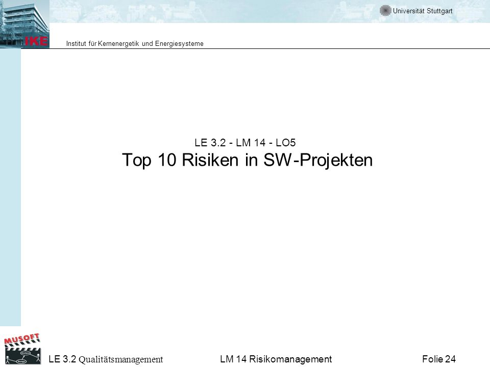 LE 3.2 - LM 14 - LO5 Top 10 Risiken in SW-Projekten
