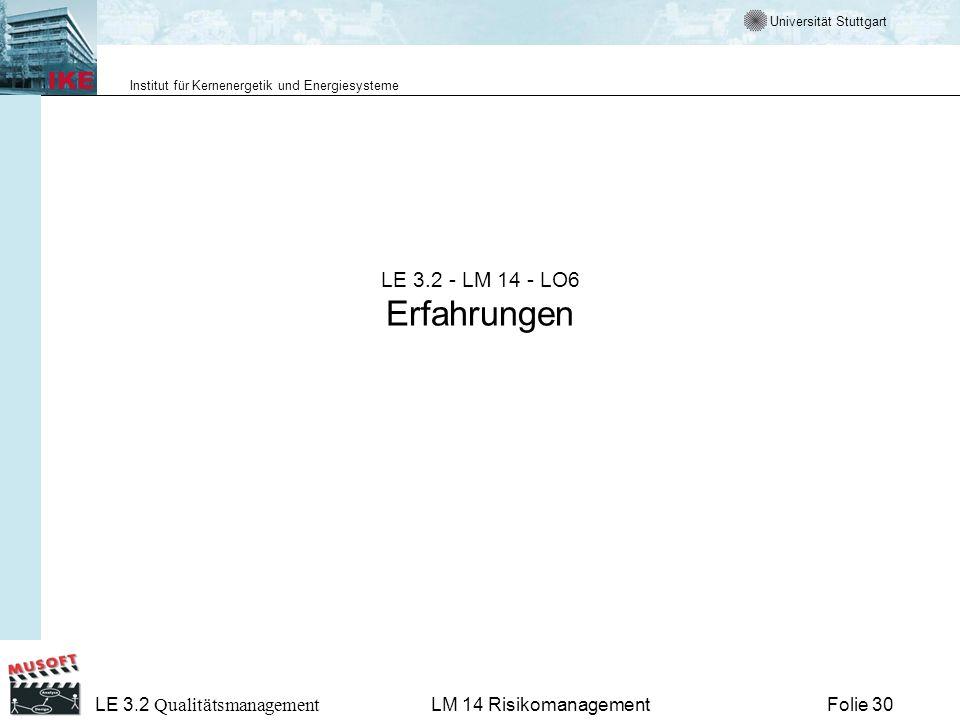LE 3.2 - LM 14 - LO6 Erfahrungen LM 14 Risikomanagement