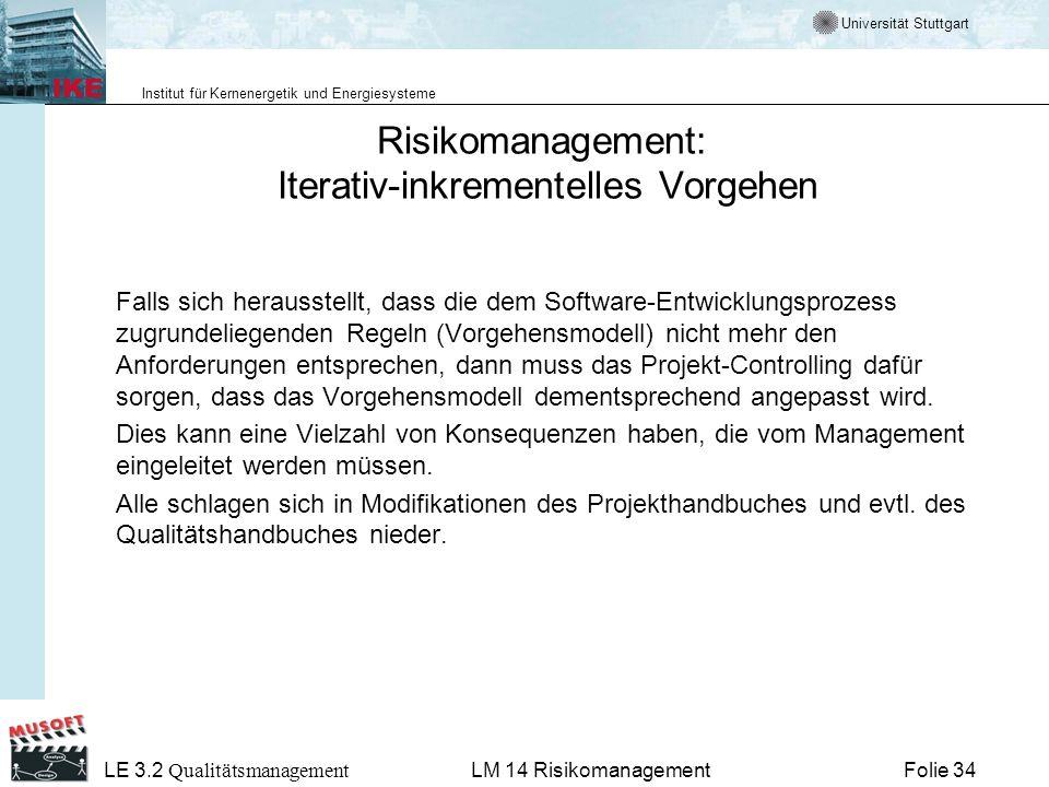 Risikomanagement: Iterativ-inkrementelles Vorgehen