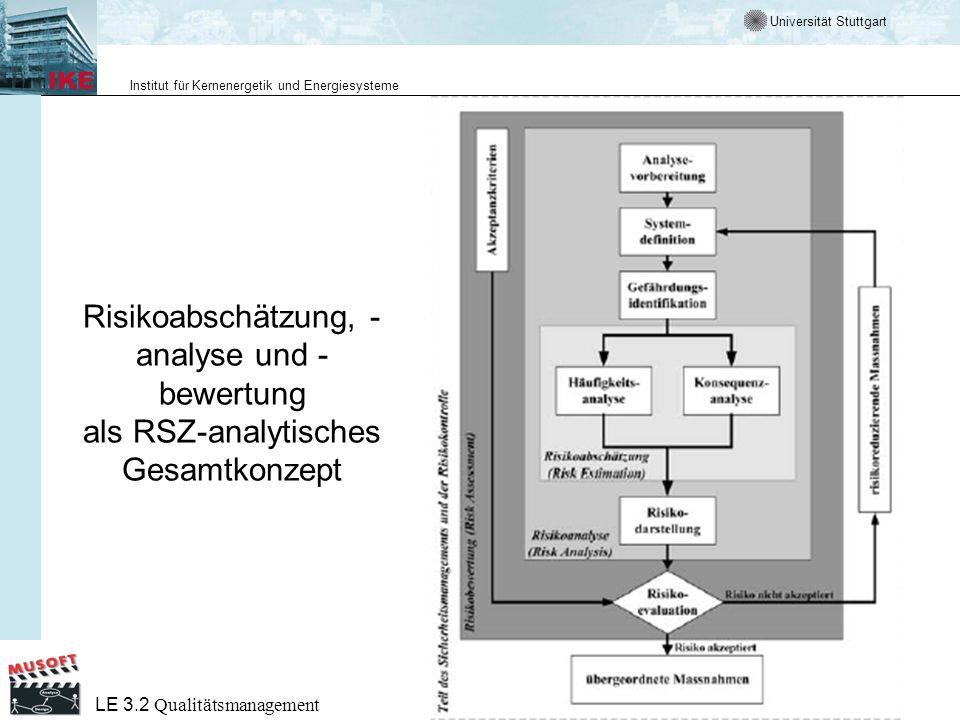 Risikoabschätzung, -analyse und -bewertung als RSZ-analytisches Gesamtkonzept