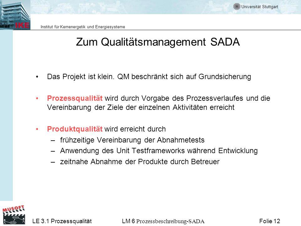 Zum Qualitätsmanagement SADA