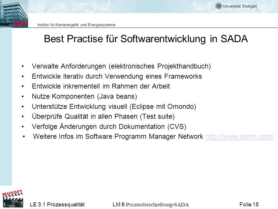 Best Practise für Softwarentwicklung in SADA