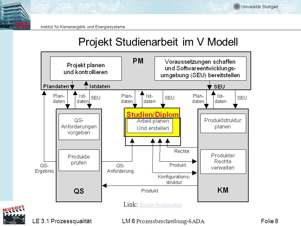Projekt Studienarbeit im V Modell