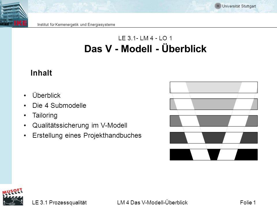 LE 3.1- LM 4 - LO 1 Das V - Modell - Überblick