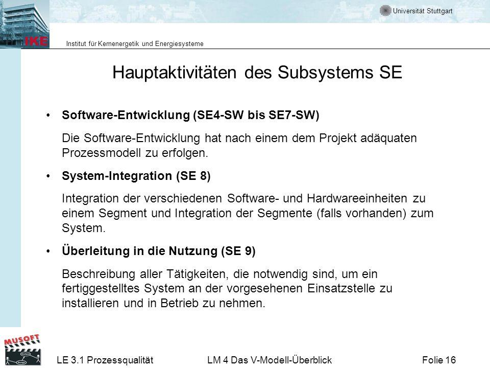 Hauptaktivitäten des Subsystems SE