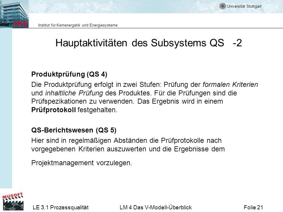 Hauptaktivitäten des Subsystems QS -2