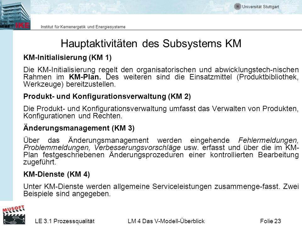 Hauptaktivitäten des Subsystems KM