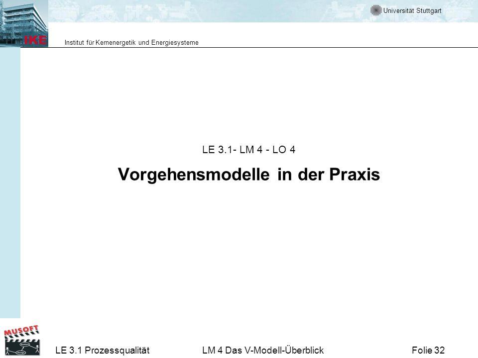 LE 3.1- LM 4 - LO 4 Vorgehensmodelle in der Praxis
