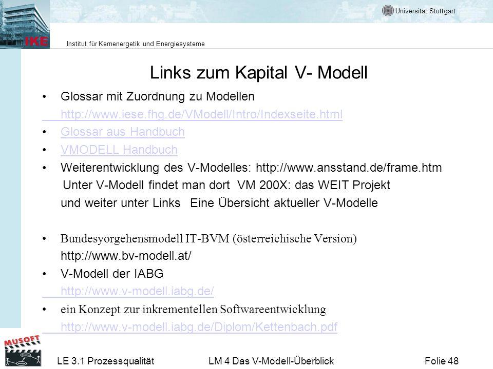 Links zum Kapital V- Modell