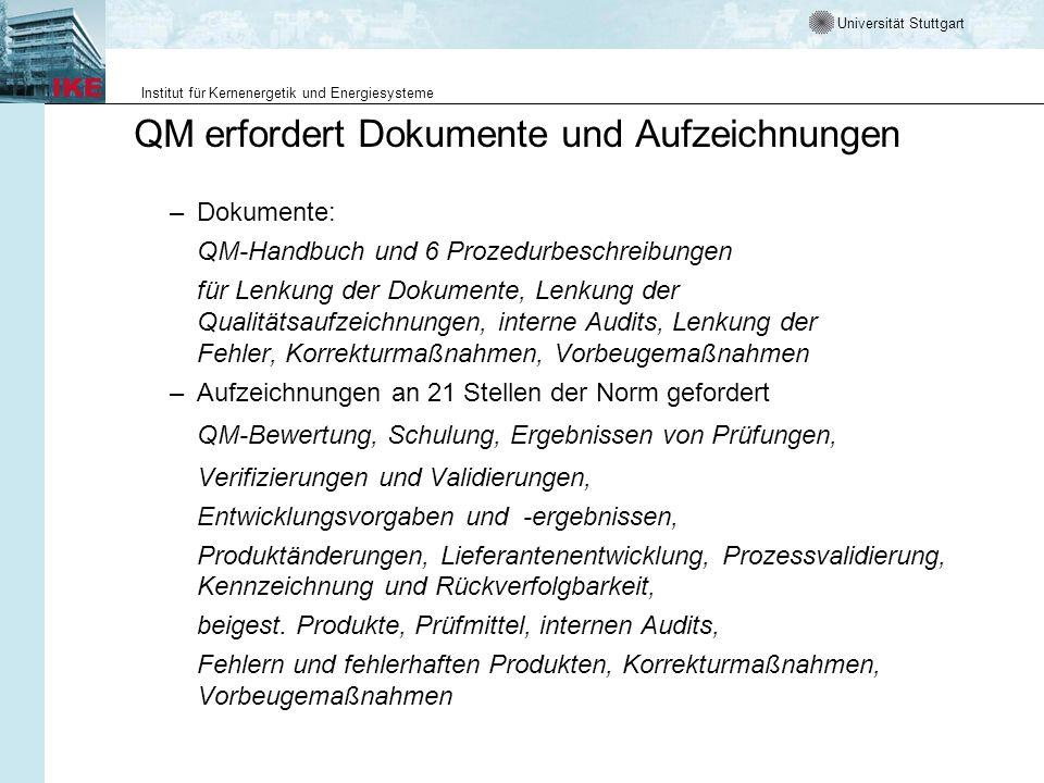 QM erfordert Dokumente und Aufzeichnungen