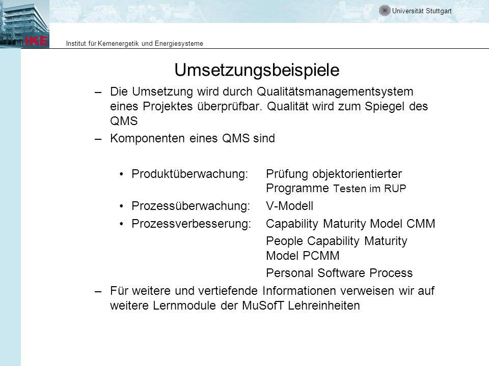 Umsetzungsbeispiele Die Umsetzung wird durch Qualitätsmanagementsystem eines Projektes überprüfbar. Qualität wird zum Spiegel des QMS.