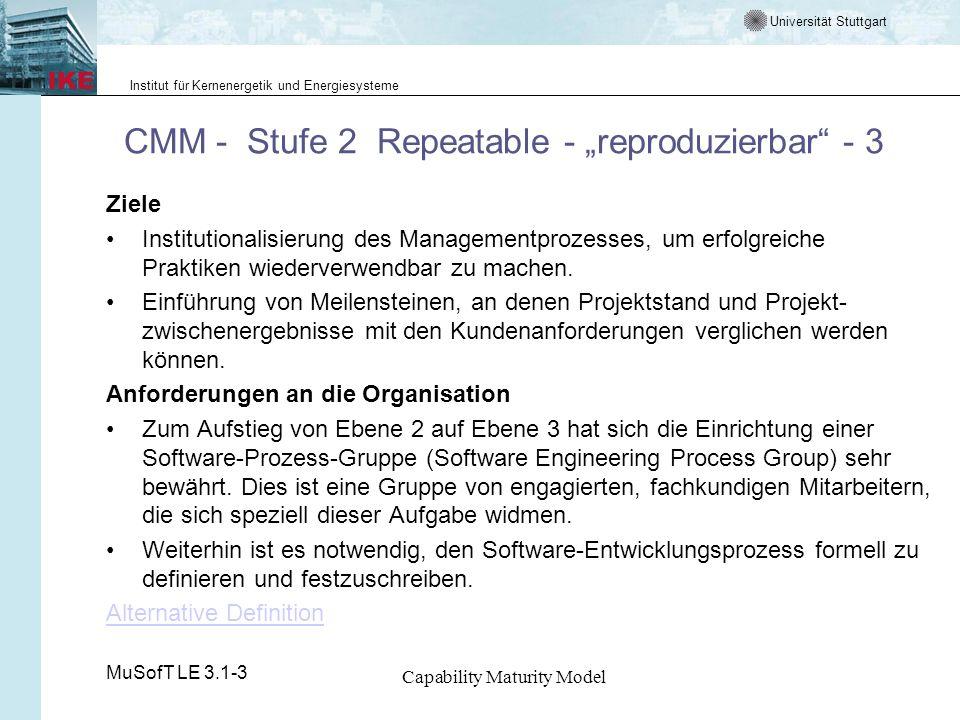 """CMM - Stufe 2 Repeatable - """"reproduzierbar - 3"""