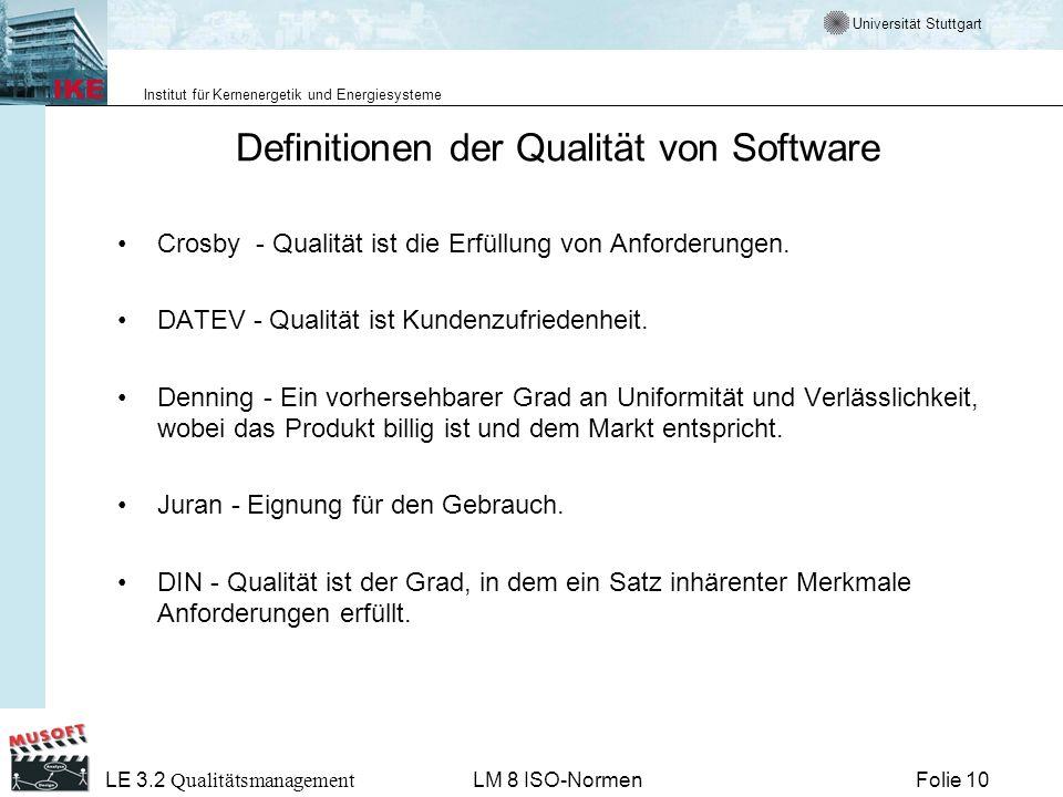 Definitionen der Qualität von Software