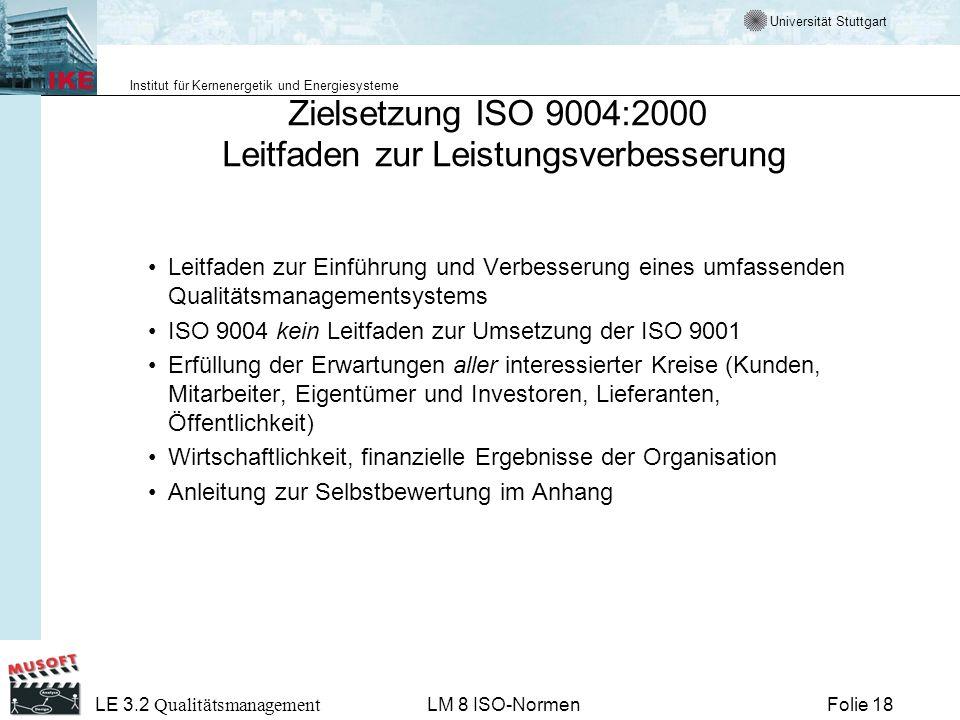 Zielsetzung ISO 9004:2000 Leitfaden zur Leistungsverbesserung